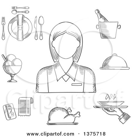 Clipart of a Black and White Sketched Waitress in Elegant Uniform, Surrounded by Dinner Set, Champagne and Ice Bucket, Ice Cream Sundae, Fried Chicken, Cloche and Restaurant Bill - Royalty Free Vector Illustration by Vector Tradition SM
