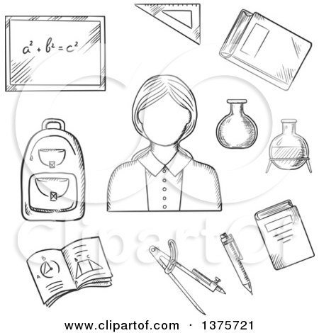 Clipart of a Black and White Sketched Female Encircled by Blackboard with Chalk Formula, Books, Pen, Laboratory Flasks, School Bag, Exercise Book with Geometric Figures, Triangle Ruler - Royalty Free Vector Illustration by Vector Tradition SM