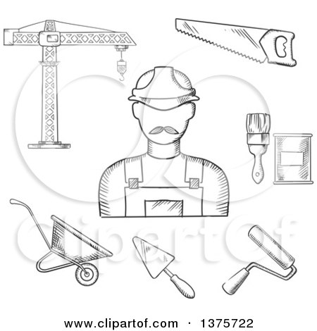 Clipart of a Black and White Sketched Builder with Tower Crane, Hand Saw, Trowel, Paintbrush, Paint Can, Wheelbarrow and Paint Roller - Royalty Free Vector Illustration by Vector Tradition SM