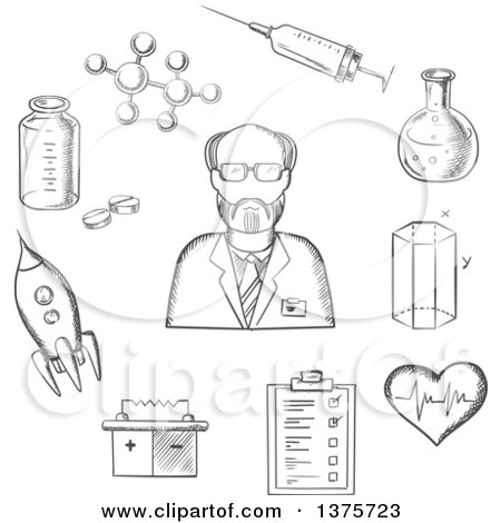 Clipart of a Gray Sketched Scientist Surrounded by Medical, Biology, Space, Mechanic, Geometry and Scientific Items - Royalty Free Vector Illustration by Vector Tradition SM