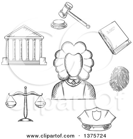 Clipart of a Gray Sketched Judge Courthouse, Law Book, Fingerprint, Police Cap, Scales and Gavel - Royalty Free Vector Illustration by Vector Tradition SM