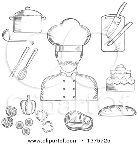 Clipart of a Grayscale Sketched Chef with Bread, Beef Steak, Pot with Ladle, Tiered Cake, Sliced Fresh Vegetables, Chopping Board with Knives, Whisk and Fork - Royalty Free Vector Illustration by Vector Tradition SM