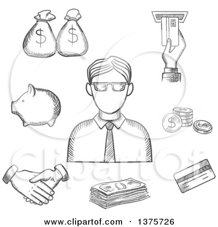 Clipart of a Grayscale Sketched Businessman and Financial Icons with Money Bags, ATM, Credit Card, Handshake, Piggy Bank, Dollar Coins and Bills - Royalty Free Vector Illustration by Vector Tradition SM