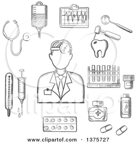 Clipart of a Grayscale Sketched Doctor with Medical Icons As Tubes, Flasks, Drugs and Pills, Syringe, Dentistry, Blood Transfusion, Ultrasound, Stethoscope - Royalty Free Vector Illustration by Vector Tradition SM