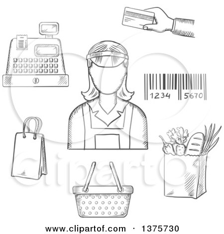Clipart of a Grayscale Sketched Bag, Cash Register, Credit Card, Payment, Bar Code and Groceries Around a Female Cashier - Royalty Free Vector Illustration by Vector Tradition SM