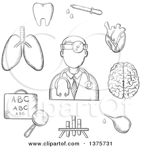 Clipart of a Grayscale Sketched Doctor Encircled by an Eye Chart, Lungs, Tooth, Eye, Dropper, Test Tubes, Brain and Heart Depicting Examination, Diagnosis and Treatment - Royalty Free Vector Illustration by Vector Tradition SM