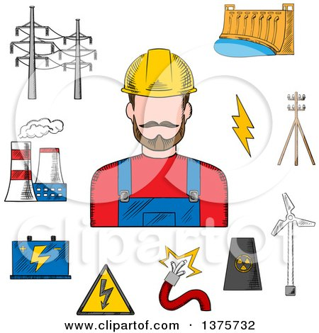 Clipart of a Sketched Electric Station, Hydro and Wind Energy, Nuclear Power Plant, Power Lines and Pylon, Battery and Danger Warning Sign with Professional Electrician - Royalty Free Vector Illustration by Vector Tradition SM