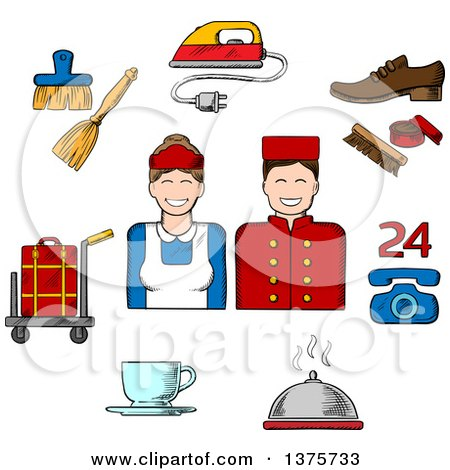 Clipart of a Sketched Bell Boy, Maid and Composition of Room Services Icons with Luggage, Iron, Shoe Cleaning, Telephone, Food Delivery, Coffee and Cleaning - Royalty Free Vector Illustration by Vector Tradition SM