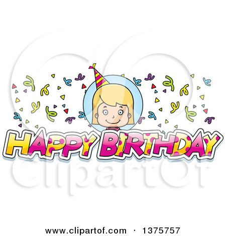 Clipart of a Blond White Birthday Girl - Royalty Free Vector Illustration by Cory Thoman