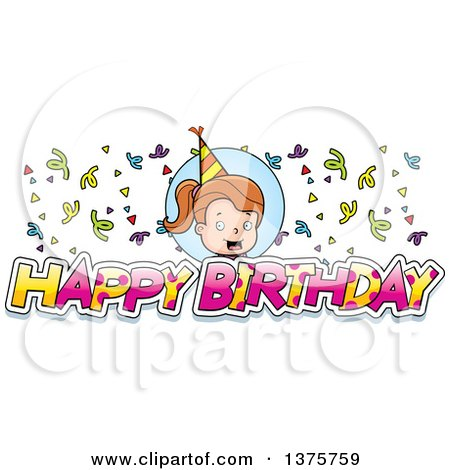 Clipart of a Brunette White Birthday Girl - Royalty Free Vector Illustration by Cory Thoman