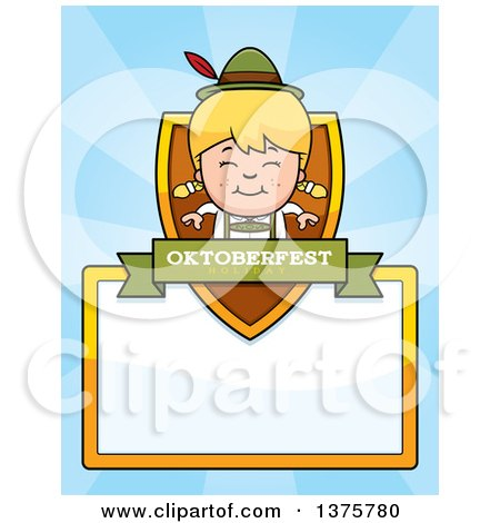 Clipart of a Happy Blond Oktoberfest German Girl Page Border - Royalty Free Vector Illustration by Cory Thoman
