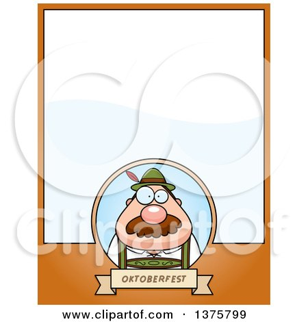 Clipart of a Happy Oktoberfest German Man Page Border - Royalty Free Vector Illustration by Cory Thoman