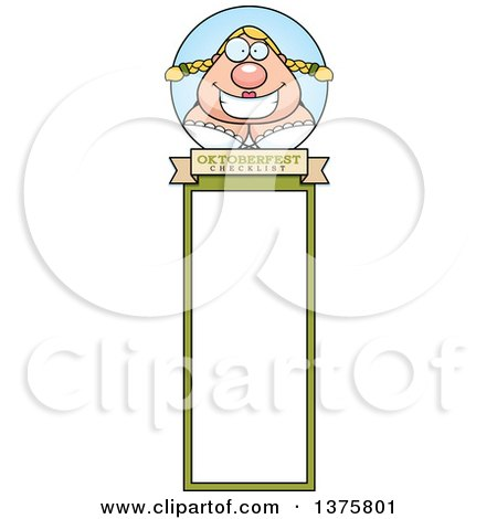 Clipart of a Happy Oktoberfest German Woman Bookmark - Royalty Free Vector Illustration by Cory Thoman