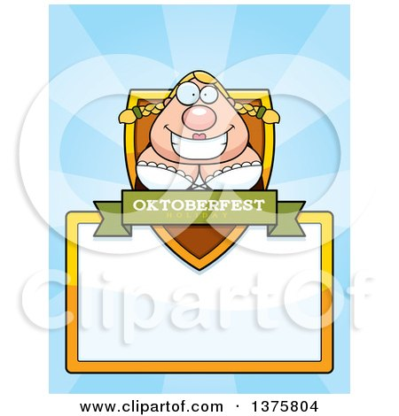 Clipart of a Happy Oktoberfest German Woman Page Border - Royalty Free Vector Illustration by Cory Thoman