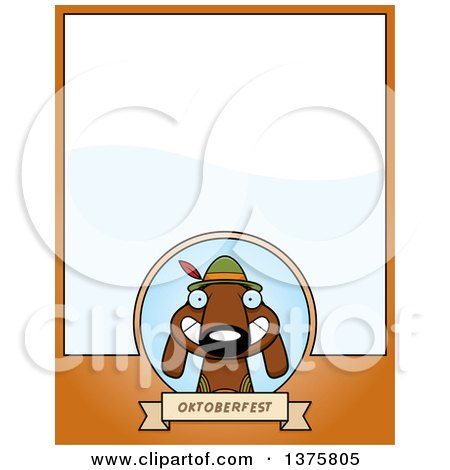 Clipart of a German Oktoberfest Dachshund Dog Wearing Lederhosen Page Border - Royalty Free Vector Illustration by Cory Thoman