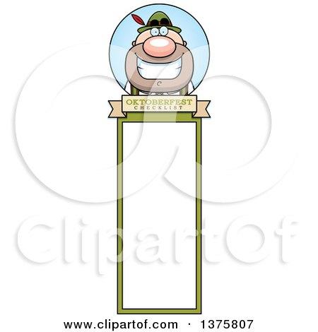 Clipart of a Happy Oktoberfest German Man Bookmark - Royalty Free Vector Illustration by Cory Thoman