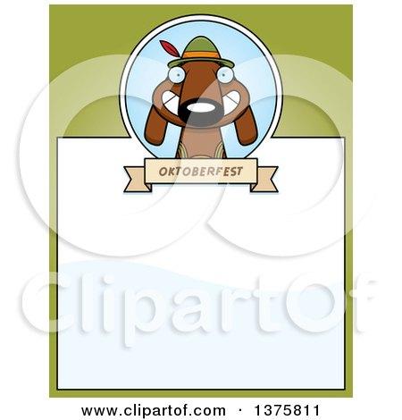 Clipart of a German Oktoberfest Dachshund Dog Wearing Lederhosen Page Border - Royalty Free Vector Illustration by Cory Thoman