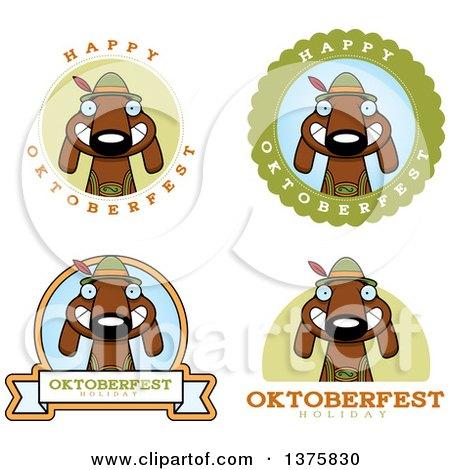 Clipart of Badges of a German Oktoberfest Dachshund Dog Wearing Lederhosen - Royalty Free Vector Illustration by Cory Thoman