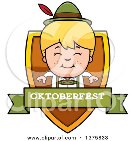 Clipart of a Happy Blond Oktoberfest German Boy Shield - Royalty Free Vector Illustration by Cory Thoman