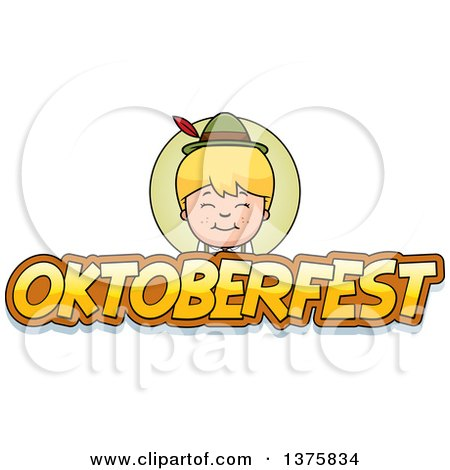 Clipart of a Happy Blond Oktoberfest German Boy - Royalty Free Vector Illustration by Cory Thoman