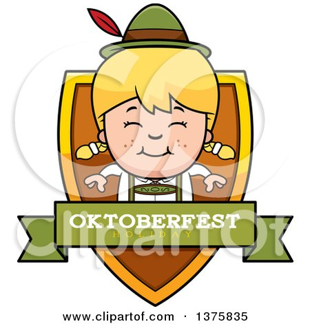 Clipart of a Happy Blond Oktoberfest German Girl Shield - Royalty Free Vector Illustration by Cory Thoman
