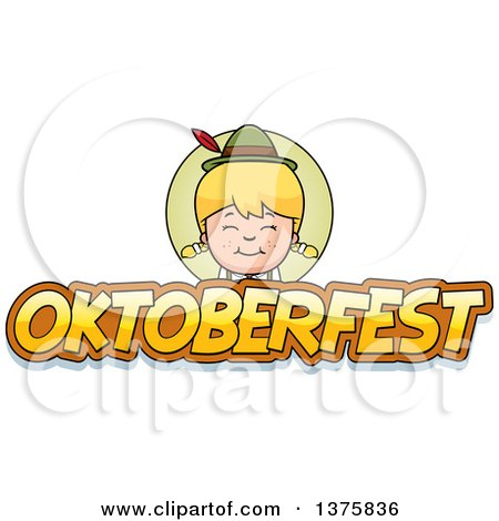 Clipart of a Happy Blond Oktoberfest German Girl - Royalty Free Vector Illustration by Cory Thoman