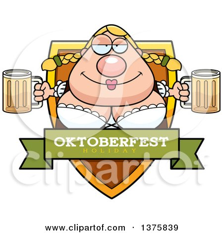 Clipart of a Happy Oktoberfest German Woman Shield - Royalty Free Vector Illustration by Cory Thoman