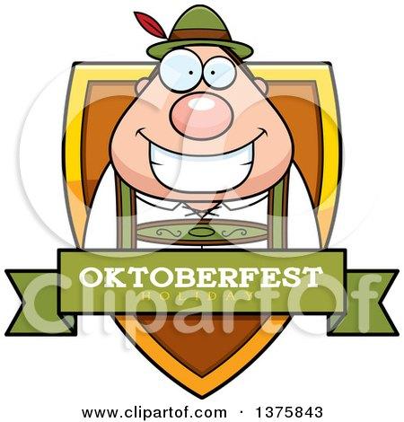 Clipart of a Happy Oktoberfest German Man Shield - Royalty Free Vector Illustration by Cory Thoman
