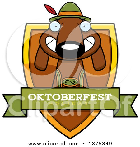Clipart of a German Oktoberfest Dachshund Dog Wearing Lederhosen Shield - Royalty Free Vector Illustration by Cory Thoman