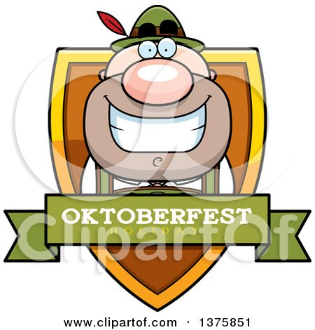 Clipart of a Happy Oktoberfest German Man Shield - Royalty Free Vector Illustration by Cory Thoman