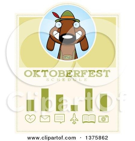 Clipart of a German Oktoberfest Dachshund Dog Wearing Lederhosen Schedule Design - Royalty Free Vector Illustration by Cory Thoman