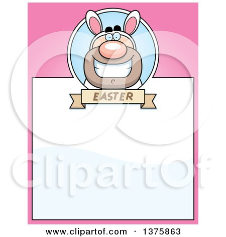 Clipart of a White Easter Bunny Man in a Costume Page Border - Royalty Free Vector Illustration by Cory Thoman