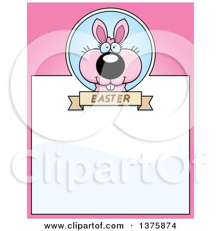 Clipart of a Pink Easter Bunny Page Border - Royalty Free Vector Illustration by Cory Thoman