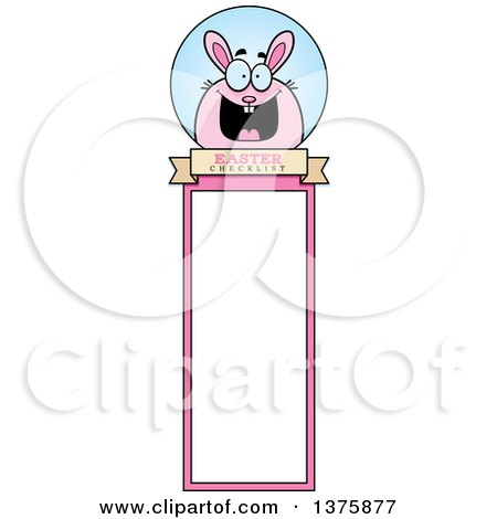 Clipart of a Chubby Pink Easter Bunny Bookmark - Royalty Free Vector Illustration by Cory Thoman