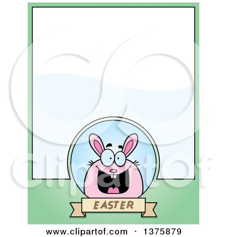 Clipart of a Chubby Pink Easter Bunny Page Border - Royalty Free Vector Illustration by Cory Thoman