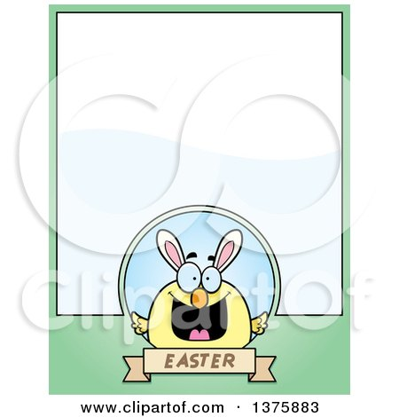 Clipart of a Happy Easter Chick with Bunny Ears Page Border - Royalty Free Vector Illustration by Cory Thoman