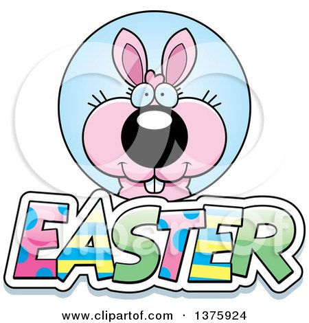 Clipart of a Pink Easter Bunny with Text - Royalty Free Vector Illustration by Cory Thoman