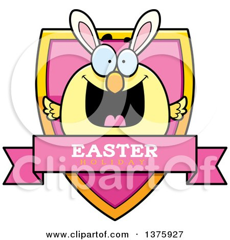 Clipart of a Happy Easter Chick with Bunny Ears Shield - Royalty Free Vector Illustration by Cory Thoman