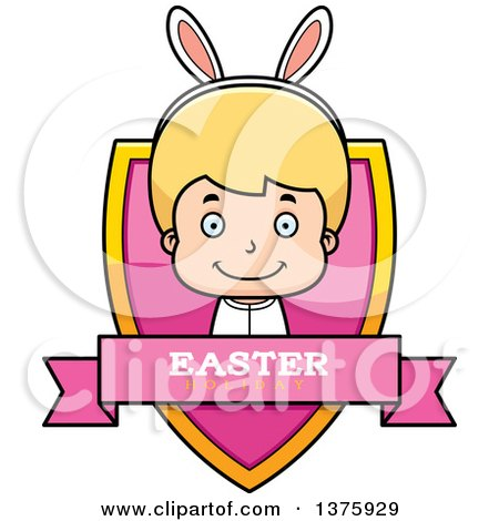 Clipart of a Blond White Easter Boy Wearing Bunny Ears Shield - Royalty Free Vector Illustration by Cory Thoman