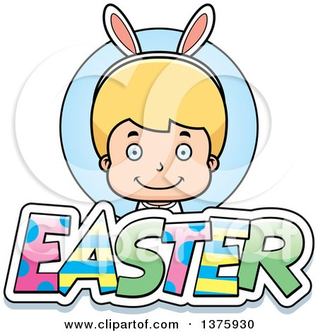 Clipart of a Blond White Easter Boy Wearing Bunny Ears with Text - Royalty Free Vector Illustration by Cory Thoman