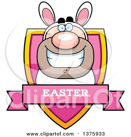 Clipart of a White Easter Bunny Man in a Costume Shield - Royalty Free Vector Illustration by Cory Thoman