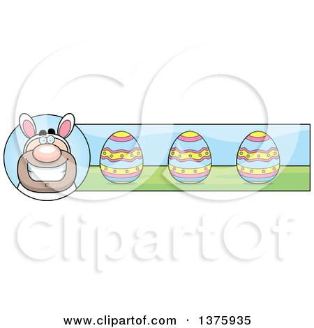 Clipart of a White Easter Bunny Man in a Costume Banner - Royalty Free Vector Illustration by Cory Thoman