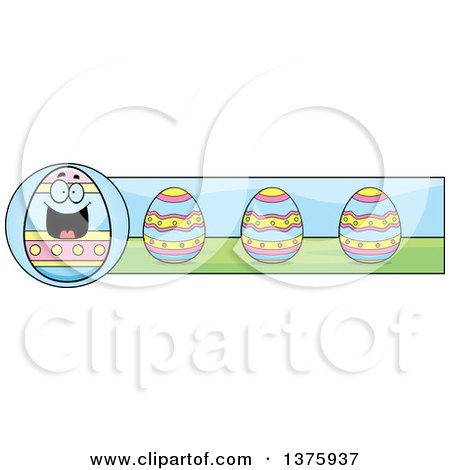 Clipart of a Happy Easter Egg Mascot Banner - Royalty Free Vector Illustration by Cory Thoman