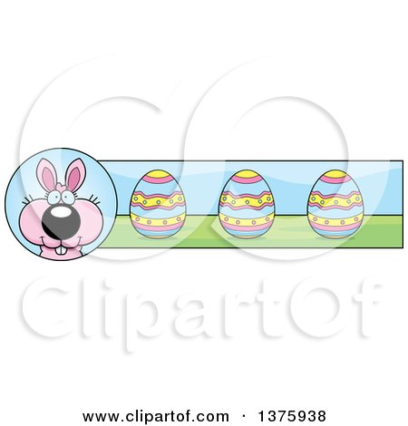 Clipart of a Pink Easter Bunny Banner - Royalty Free Vector Illustration by Cory Thoman