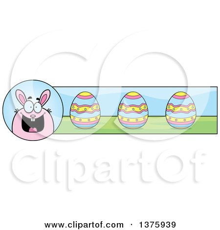Clipart of a Chubby Pink Easter Bunny Banner - Royalty Free Vector Illustration by Cory Thoman