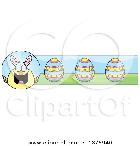 Clipart of a Happy Easter Chick with Bunny Ears Banner - Royalty Free Vector Illustration by Cory Thoman