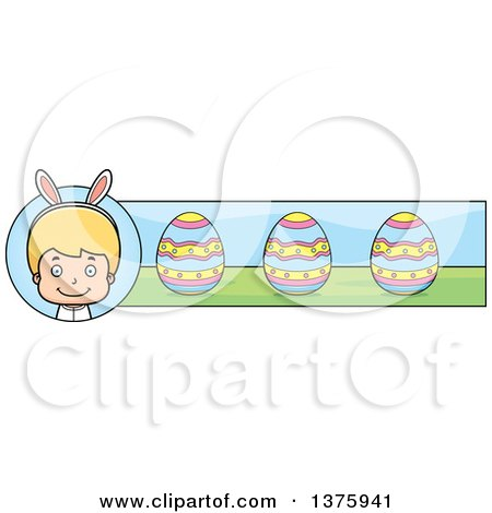 Clipart of a Blond White Easter Boy Wearing Bunny Ears Banner - Royalty Free Vector Illustration by Cory Thoman