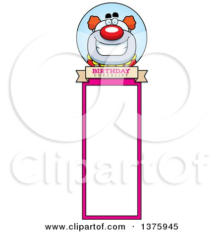 Clipart of a Happy Pudgy Birthday Party Clown Bookmark - Royalty Free Vector Illustration by Cory Thoman