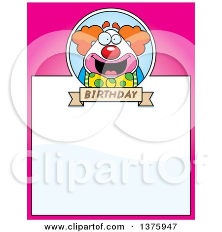 Clipart of a Happy Pudgy Birthday Party Clown Page Border - Royalty Free Vector Illustration by Cory Thoman