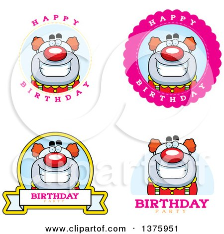 Clipart of Badges of a Happy Pudgy Birthday Party Clown - Royalty Free Vector Illustration by Cory Thoman